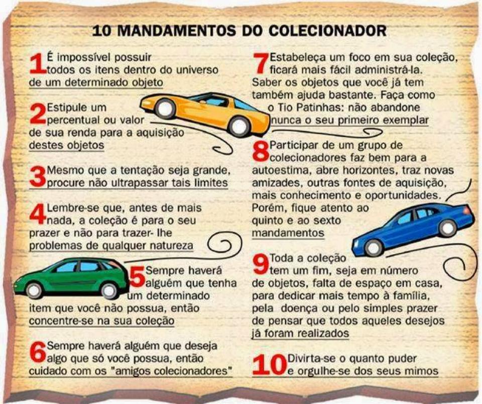 Os 10 mandamentos do colecionador