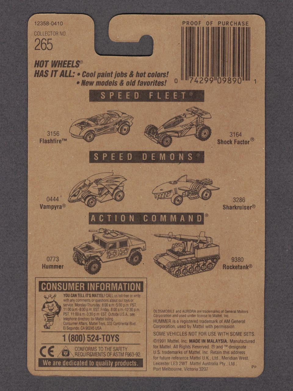 1994 Hot Wheels Oldsmobile Aurora on #265 Collector Card