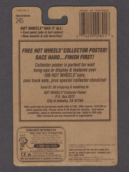 1994 Hot Wheels Driven to the Max on #245 Collector Card