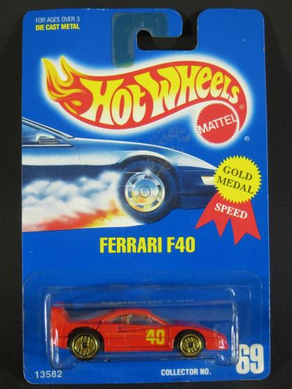 1994 Hot Wheels Gold Medal Speed Ferrari F40 on #69 Collector Card