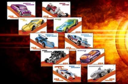 Selos em comemoração aos 50 anos da Hot Wheels