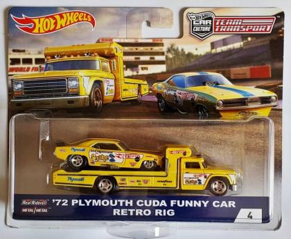 Hot Wheels '72 Plymouth Cuda Funny Car Retro Rig (Snake)